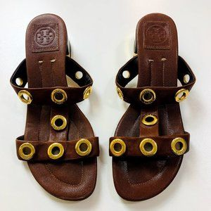 Tory Burch Brown Leather Kathryn Grommet Sandals